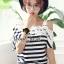 Seoul Secret Cool Stripy Top Shoulder Oblique Lace thumbnail 3
