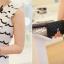 Cherry KOKO เดรสผ้าชีฟอง สีขาวพิมพ์ลายริ้วดำ พร้อมโบว์ thumbnail 6