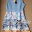 Lady Ribbon Roman Print Dress in Baby Blue thumbnail 9