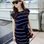 Maxi Dress เดรสยาวผ้าชีฟอง พิมพ์ลายขวาง สีน้ำเงิน สีขาว thumbnail 12