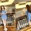 Seoul Secret เดรสผ้าฝ้ายสีฟ้า พิมพ์ลายจุด เว้าไหล่ แต่งระบายที่แขน thumbnail 8