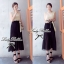 Lady Ribbon Maxi Dress เดรสยาวโทนสีครีมดำ ผูกโบว์ thumbnail 5