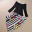 Lady Ribbon ชุดเซ็ทเสื้อเปิดไหล่สีดำ กระโปรงทรงสุ่ม ลายขวางดอกกุหลาบ thumbnail 10