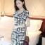 IceVanilla Striped Printed Dress เดรสผ้าพิมพ์ลายเส้นตารางขาวดำ thumbnail 1