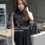 Seoul Secret จั๊มสูทผ้าชีฟองขาสั้น สีดำ แต่งเลื่อมที่แขน thumbnail 6