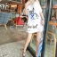 Seoul Secret Navy Doggy Print Tang-Top Dress thumbnail 5