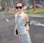 Lady Ribbon Flower Embellished Denim Shirt Dress with Belt thumbnail 5