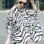 Lady Ribbon Zebra Camouflage Printed Shirt Dress thumbnail 3