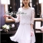 Lady Ribbon Classic White Lace Pleated Dress thumbnail 3
