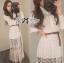 Lady Ribbon เสื้อเชิ้ตแขนยาว สีขาว ต่อผ้าลูกไม้ซีทรูเป็นกระโปรงยาว thumbnail 5