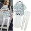 Lady Ribbon Marble Chiffon Top and White Leggings Set thumbnail 1