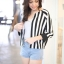 Chic Black n White Striped Jacket thumbnail 1