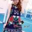 Seoul Secret เดรสทรง A ผ้าทอลายนูน ปักลายสไตล์ D&G thumbnail 1