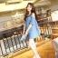 Seoul Secret เดรสผ้าฝ้ายสีฟ้า พิมพ์ลายจุด เว้าไหล่ แต่งระบายที่แขน thumbnail 7