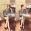 Lady Ribbon เสื้อเชิ้ตผ้ายีนส์ ไหล่ผ้าชีฟองลายเสือ สีเทา สีน้ำตาล thumbnail 5