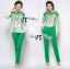 Lady Ribbon Insert Lace Printed Chiffon Blouse with Skinny Trousers Set thumbnail 2