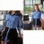 Sweet Blue Shirt เสื้อตัวยาว สีฟ้า ตัดต่อผ้าลูกไม้ช่วงหลังและกระโปรง thumbnail 6