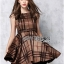 Lady Ribbon British Check Printed Beige Dress thumbnail 1