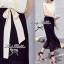 Lady Ribbon Maxi Dress เดรสยาวโทนสีครีมดำ ผูกโบว์ thumbnail 7
