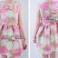 Lady Ribbon Graphic Style Dress เดรสลายดอก สีชมพูและเขียวอ่อน thumbnail 7