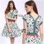 Lady Ribbon Colorful Flower Printed Viscose Dress thumbnail 4