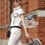 Chanel black&white line jumpsuit จั๊มสูทขายาว สีขาวดำ thumbnail 9