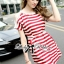 Lady Ribbon Pearl Embellished Stripped Red Dress thumbnail 1