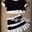 Lady Ribbon Minimal Chic Set ชุดเซ็ทเสื้อครอปและกระโปรง สีขาวดำ thumbnail 11