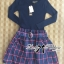 Lady Ribbon Knit Top and Checked Cotton Skirt Dress thumbnail 7