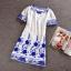 Ice Vanilla เดรสผ้าชีฟอง ปักไหมสีน้ำเงิน ลายดอกไม้วินเทจ thumbnail 6