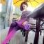 Lovely Purple Set ชุดเสื้อไหมพรม พร้อมกระโปรงสั้น ผ้ากำมะหยี่ สีม่วง thumbnail 4
