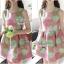 Lady Ribbon Graphic Style Dress เดรสลายดอก สีชมพูและเขียวอ่อน thumbnail 2