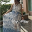 Lady Ribbon Blue Print Maxi Dress thumbnail 1