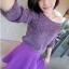 Lovely Purple Set ชุดเสื้อไหมพรม พร้อมกระโปรงสั้น ผ้ากำมะหยี่ สีม่วง thumbnail 7