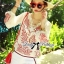Lady Ribbon Top เสื้อแขนยาวสีขาวปักลายธรรมชาติ สีแดง thumbnail 6