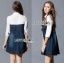 Lady Ribbon Embellished Cotton and Denim Shirt Dress thumbnail 6