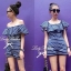 Lady Ribbon Blue Jersey Stripe Off-shoulder Playsuit thumbnail 1