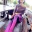 Lovely Purple Set ชุดเสื้อไหมพรม พร้อมกระโปรงสั้น ผ้ากำมะหยี่ สีม่วง thumbnail 10