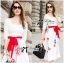 Lady Ribbon Painting Red Floral Print Midi Dress in White thumbnail 4