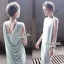 Lady Ribbon Jersey Dress เซ็ตเดรสผ้ายืดเกาะอก สีเขียว/สีดำ thumbnail 2