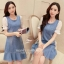 Marsh Mallow Flounced Chiffon Sleeve Denim Dress thumbnail 10