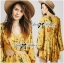 Lady Ribbon Floral Printed Cut-Out Twist Jumpsuit in Yellow thumbnail 2