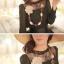 =หมด=เสื้อ ผ้าชีฟอง ตัดต่อผ้าลูกไม้และไหมพรมถัก สม็อคที่ปลายแขน มีซับใน สีดำ thumbnail 2