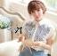 Lady Ribbon Embroidered Laser-Cut Shirt-Sleeved Shirt thumbnail 2