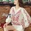 Lady Ribbon Top เสื้อแขนยาวสีขาวปักลายธรรมชาติ สีแดง thumbnail 7