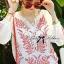 Lady Ribbon Top เสื้อแขนยาวสีขาวปักลายธรรมชาติ สีแดง thumbnail 5