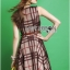 Lady Ribbon British Check Printed Beige Dress thumbnail 5