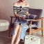 Seoul Secret Wipe Stripty Knit Denim Bottle Skirt Set thumbnail 7