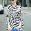 Lady Ribbon Zebra Camouflage Printed Shirt Dress thumbnail 1
