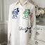 Lady Ribbon Mickey Mouse Embroidered Basic White Shirt Dress thumbnail 8